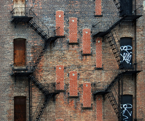 city, doors, and stairs image