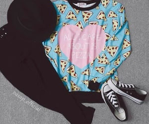 outfit, pizza, and fashion image