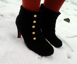 ankle boots, louboutins, and snow image