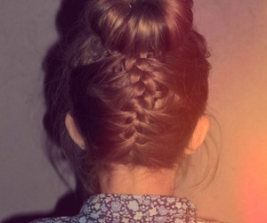 hair, braid, and bun image