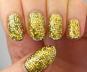 gold, nails, and cute image