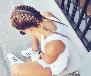 hair, adidas, and braid image