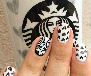 nails, starbucks, and white image