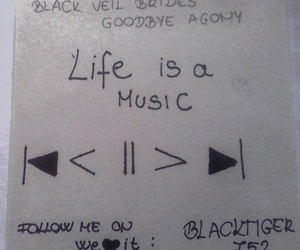 black, life, and music image