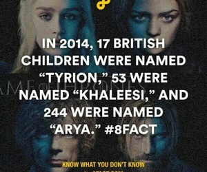 arya, game of thrones, and funny facts image