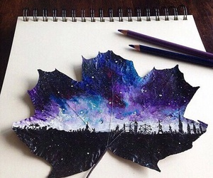 art, drawing, and leaves image