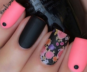 black nails, matte, and matte nails image
