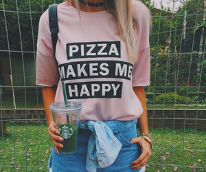 pizza, starbucks, and style image