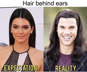 funny, kendall jenner, and hair image