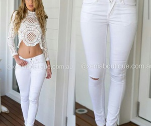 H&M, ripped jeans, and white jeans image