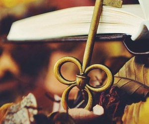 key, book, and autumn image