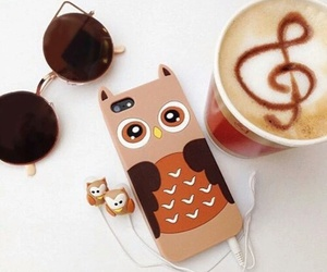 owl, iphone, and coffee image