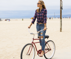 beach, bike, and girl image