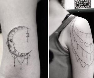 tattoo, geometric, and moon image