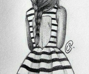 girl, drawing, and dress image
