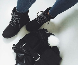 black boots, blue skinny jeans, and black timberland boots image