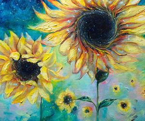 flowers, pretty, and sunflowers image