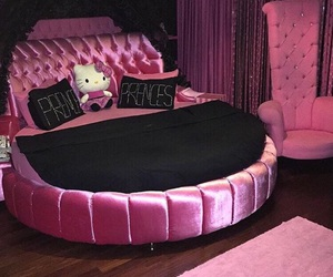 pink, bed, and hello kitty image