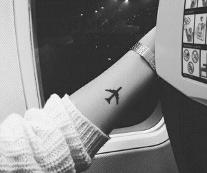 airplane, small, and tattoo image