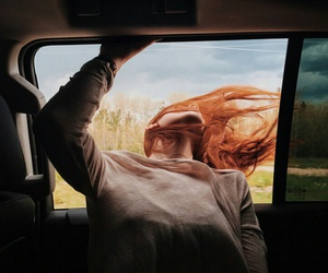 girl, car, and hair image
