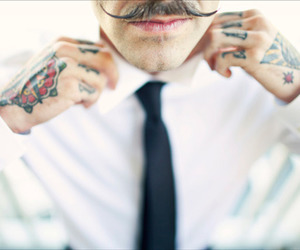 tattoo, mustache, and guy image