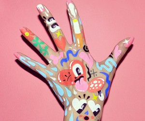 art, hand, and paint image
