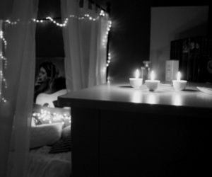 beautiful, black and white, and bedroom image