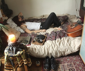 guitar, boy, and bed image