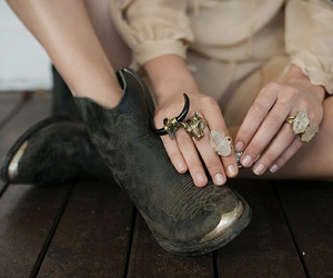 fashion, rings, and boots image