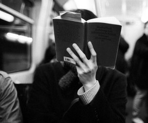 book, black and white, and reading image