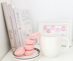 pink, book, and macaroons image