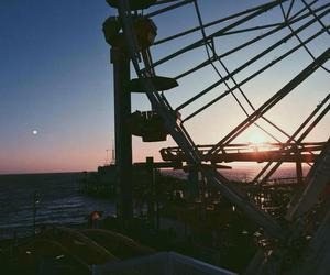 travel, sunset, and ferris wheel image