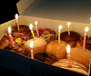 birthday, cake, and donuts image