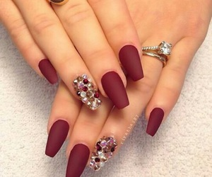 nails, red, and rings image