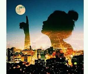 girl, moon, and city image