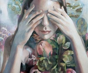 art, beautiful, and flowers image