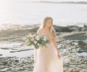 beach, flowers, and dress image