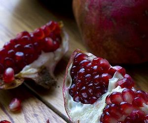 fruit, pomegranate, and red image