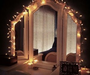 lights, mirror, and room image