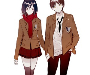 couple, shingeki no kyojin, and attack on titan image