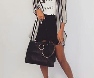 striped blazer, black purse, and white t-shirt image