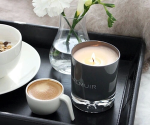 coffee, flowers, and candle image