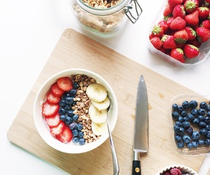 blueberries, fruit, and strawberries image