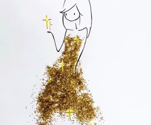 art, gold, and stars image