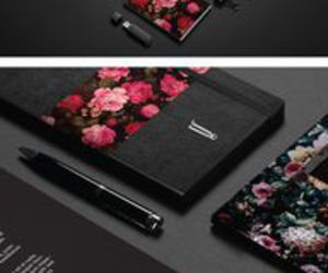 black, pink, and stationery image