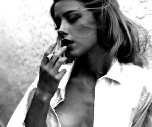 smoke, amber heard, and black and white image