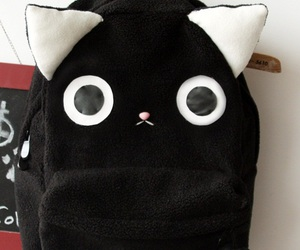 cat, backpack, and black image