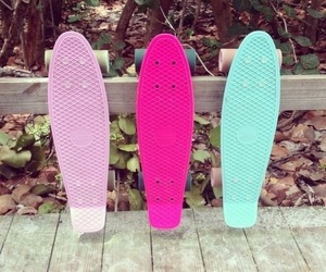 pink, penny, and skateboard image