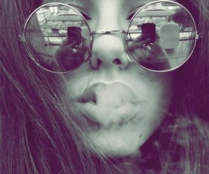 girl, smoke, and glasses image