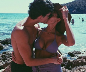 beach, couple, and paradise image